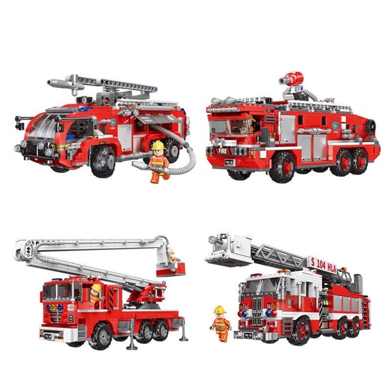 City Series Airport Fire Truck Set Mini Action Figures Firemen Building Blocks Bricks Toys For Children