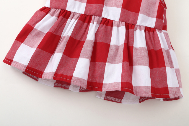 2019 Summer baby girl clothing set Plaid Skirted T-shirt Tops+Denim Short Bloomers Headband  baby girl clothes Newborn Outfits 4