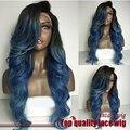 Azul de dois tons de cor ombre onda do corpo peruca dianteira do laço sintético raiz escura peruca dianteira do laço sintético resistente ao calor para as mulheres negras