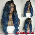 two tone blue ombre color synthetic lace front wig body wave dark root heat resistant synthetic lace front wig for black women
