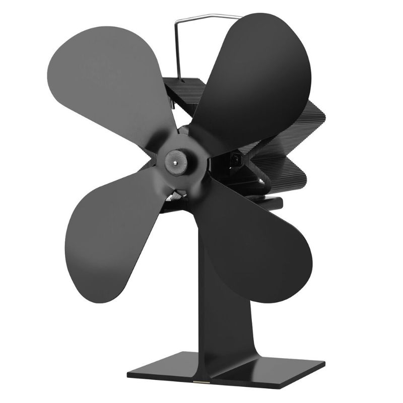 4 Blades Heat Powered Stove Fan Log Wood Burner Ultra Quiet Black Home Fireplace