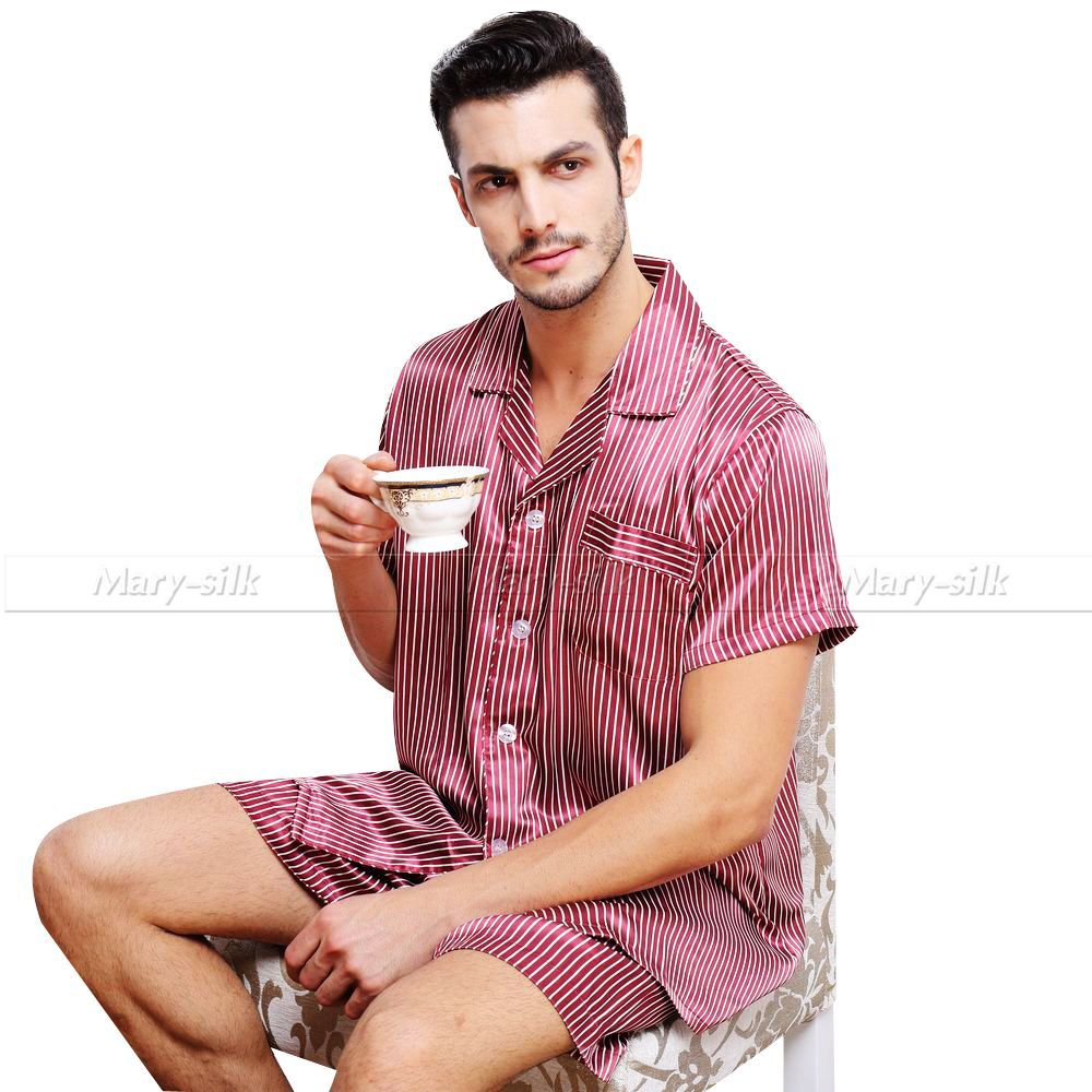 Mens Silk Satin Pajamas Pajama Pyjamas Set Sleepwear