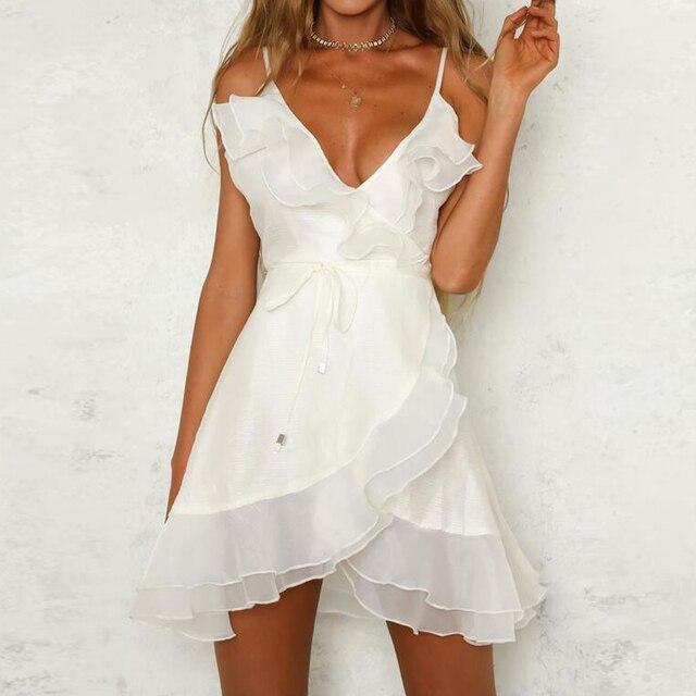 b8df1ef77a Sexy v neck strap mini dress women white short dresses ruffle sundress  Sleeveless warp summer dress robe femme ete 2018 CD273