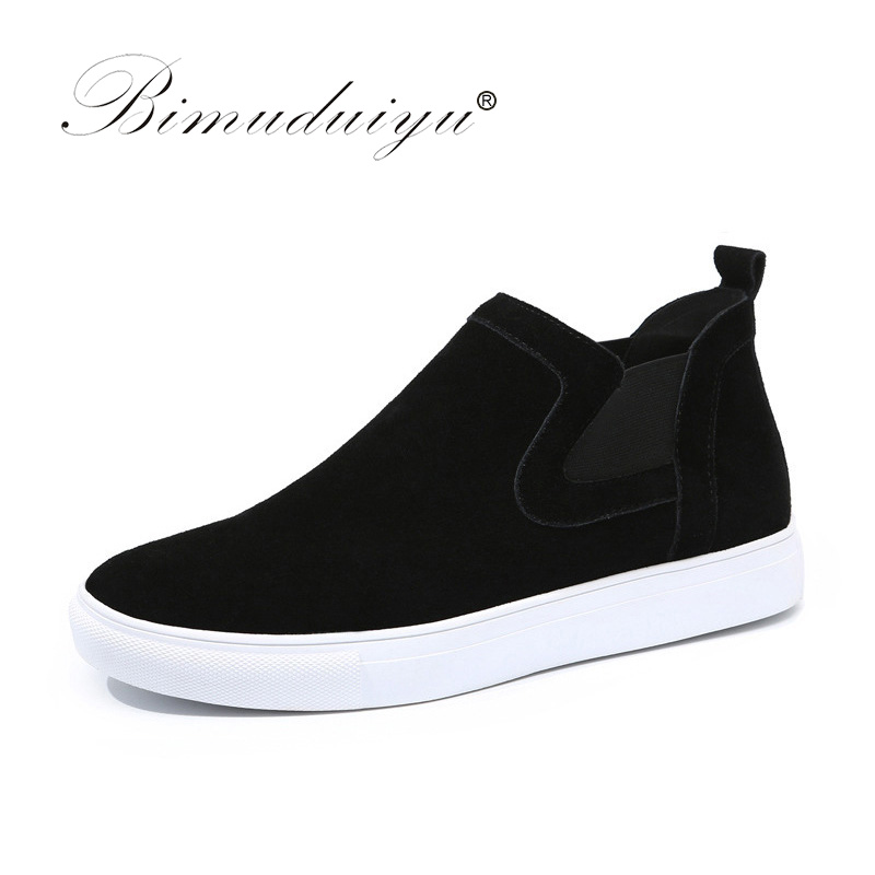 BIMUDUIYU Brand  Fashion Autumn Winter Men's Shoes Suede Leather Men Casual Shoes Popular High Top Leather Shoes For Men bimuduiyu trend casual shoes for men fashion light breathable lace up male shoes high quality suede leather black flats shoes