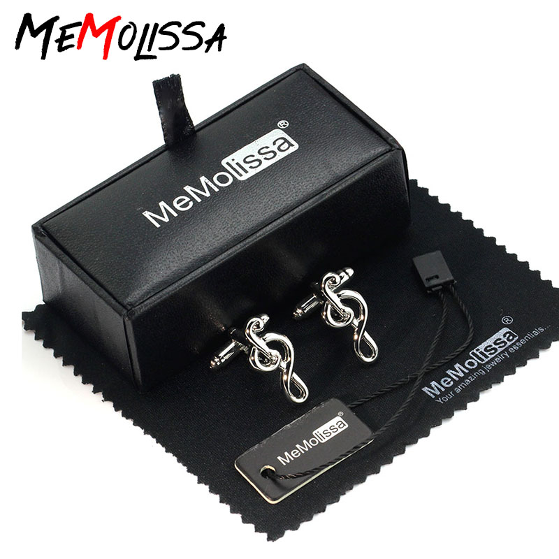 MeMolissa Cufflinks Set Popular Music Note High Quality Silver Cufflinks Classic French Shirt Cuff Links Friends Gift