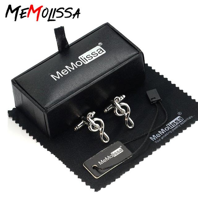Memolissa Cufflinks Music Note High Silver French Shirt Cuff Links Friends