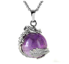 FYJS Unique Jewelry Silver Plated Chinese Dragon Wrap Natural Purple Amethysts Ball Bead Pendant Stone Necklace
