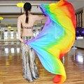 100% Шелка Производительности Фата Танцор Контрастных Цветов Легкая Текстура Прямоугольный Шарф 2.5 М Женщины Радуга Завеса Танец Живота