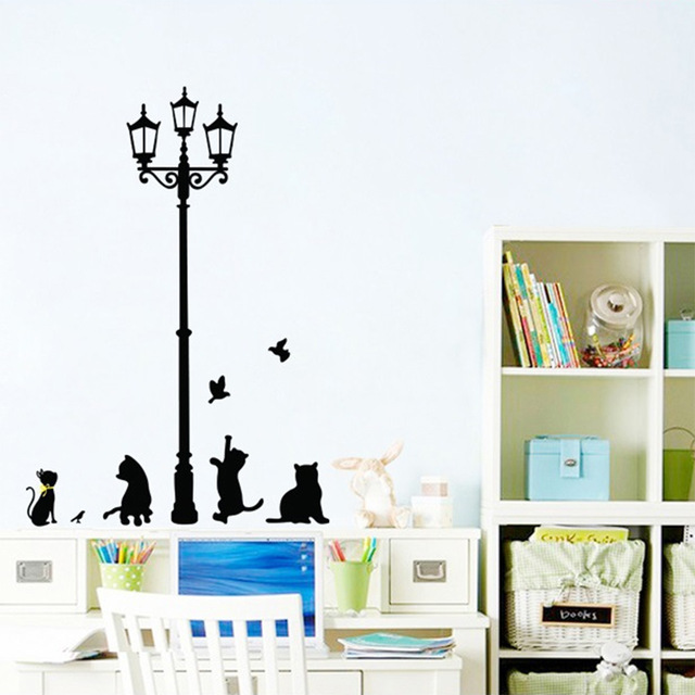 new arrived cat play wall sticker butterflies stickers decor decals