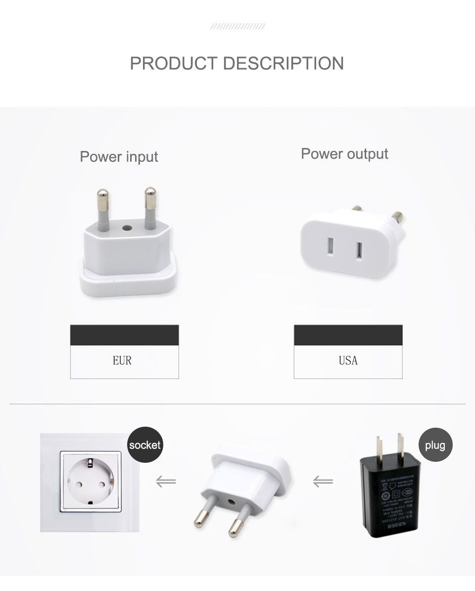 1PC US To EU Plug USA To Europe Travel Wall AC Power Plug Safety Door Design Charger Outlet Adapter Converter 2 Round Pin Socket (10)