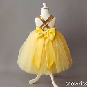 Image 4 - Floor length yellow tulle flower girl dress golden sequin top ball gown tutu open back baby toddler pageant birthday party dress