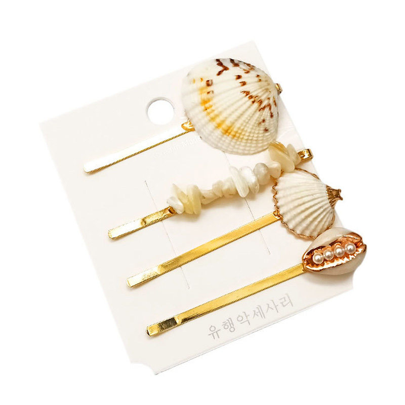 Ubuhle 4Pcs Fashion Korean Hair Pins Pearl Sea Shell Clips for Women Girl Bridal Metal Barrette Accessories Jewelry