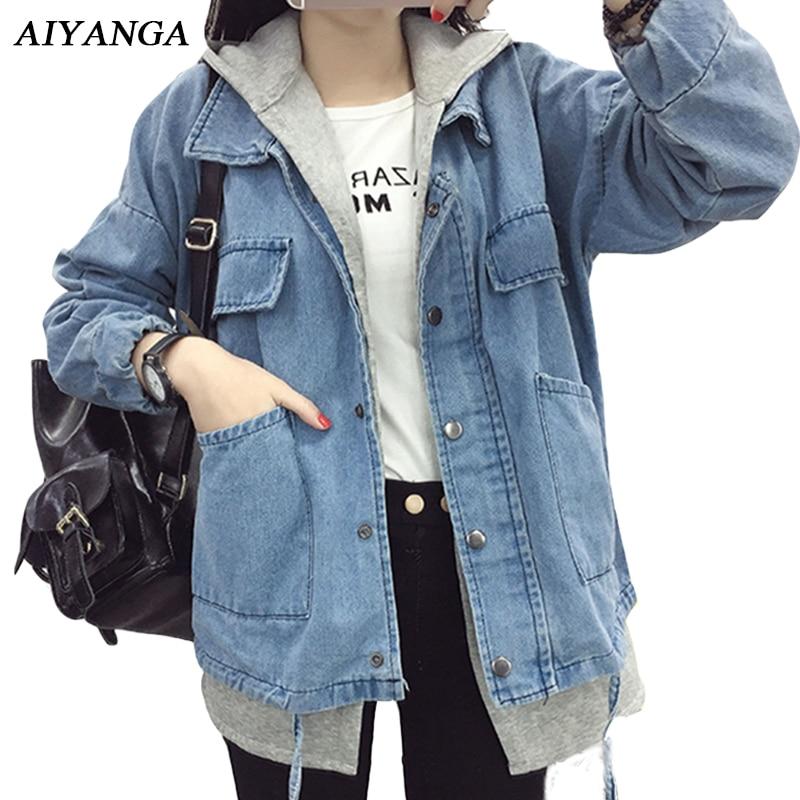 AIYANGA Fashion Patchwork Denim Jackets Women 2018 Autumn Winter jeans Hoodies Outerwear Loose Casual Coats Female