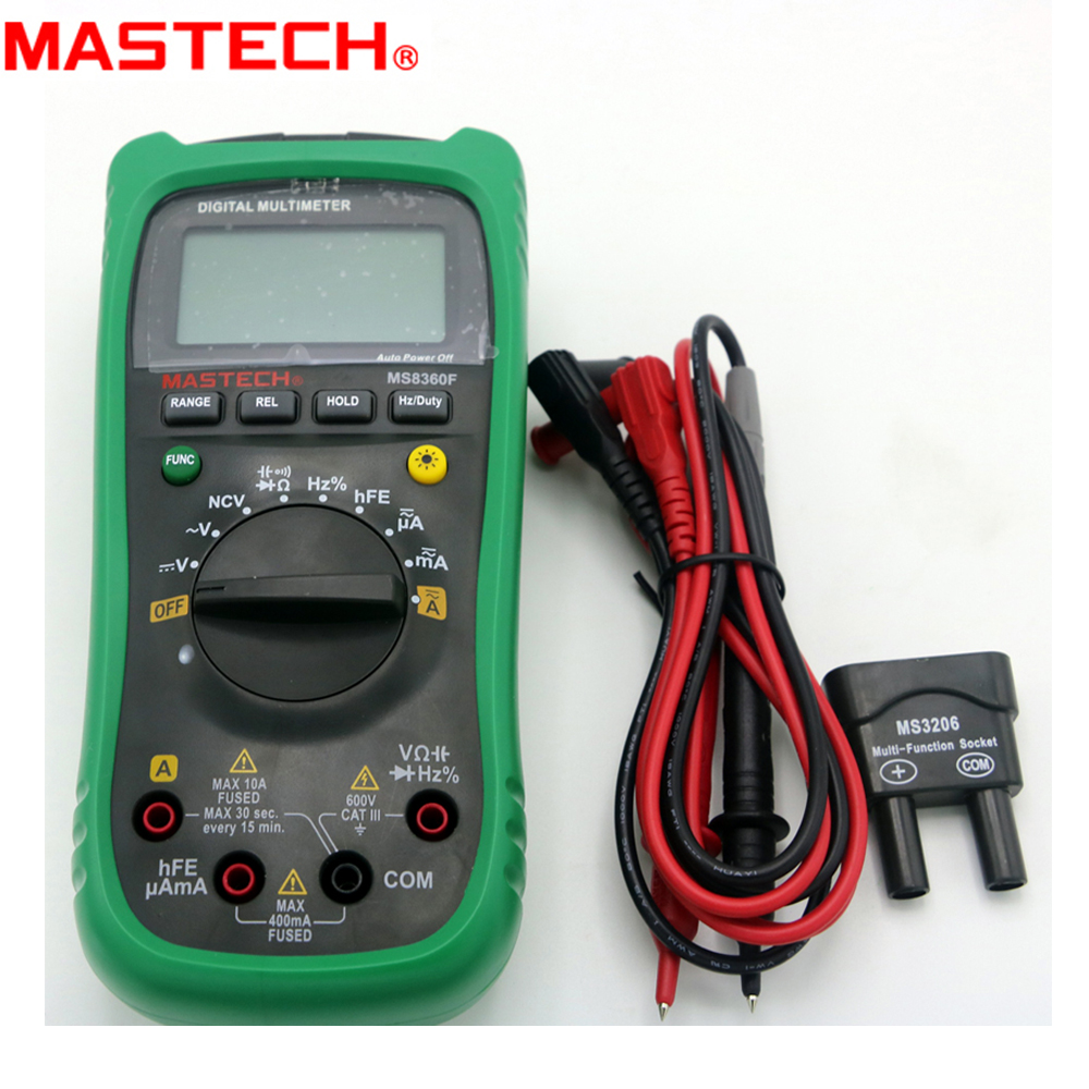 MASTECH MS8360F Auto Range Digital Multimeter Frequency Capacitor NCV hFE tester mastech ms8260f 4000 counts auto range megohmmeter dmm frequency capacitor w ncv