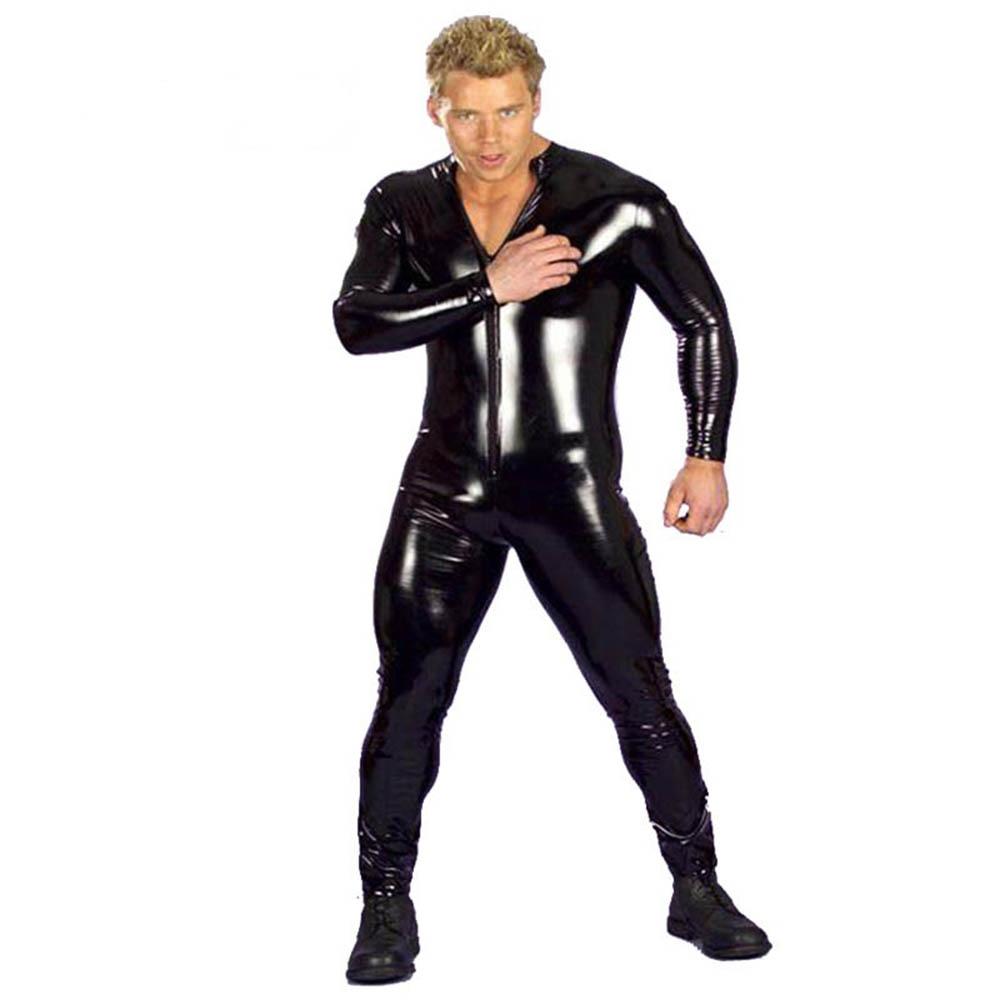 Plus Size Hot Sexy Men Latex Catsuit Faux Leather Vinyl Bondage Jumpsuit Leotard Unitard Fetish Costumes Wetlook Zentai 3XL