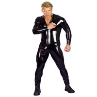 Plus Size Hot Sexy Men Latex Catsuit Faux Leather Vinyl Bondage Jumpsuit Leotard Unitard Fetish Costumes Wetlook Zentai 3XL
