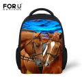 FORUDESIGNS 12 Inch 3D Animals Printing Backpack For Kids Kindergarten School Bags Baby Mochila Cute Horse Children Backpacks