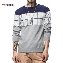 YFFUSHI Newest Design Men Sweater Autumn O-Neck Collar Long Sleeve Red Grey Navy Sweater Men Casual Style Slim Fit Plus 5XL