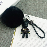 Leather Rope Rabbit Fur Ball Keychain Silk Tassel Gloomy Bear Key Ring Women Bag Car Key