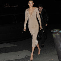 Luxury fashion womens sexy bodycon dresses autumn style long sleeve mid calf midi dresses v neck hollow out club dress