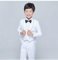 جديد أسلوب البدلات الرسمية يرتدى شال صدرية الأطفال البدلة أسود/أبيض كيد الزفاف/حفلة موسيقية الدعاوى (سترة + سترة + سروال + التعادل + قميص) NH23