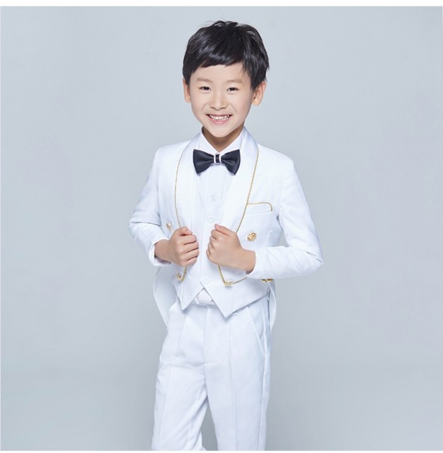 New Tailcoat Style Tuxedos Shawl Lapel Children Suit Black/White Kid ...