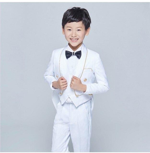 6c92b1a56c12 Nuevo Estilo Frac Esmoquin Mantón de la Solapa de Los Niños Traje  Negro/Blanco Kid Trajes de Boda/Baile (Jacket + Vest + pantalones + Tie +  Shirt) ...