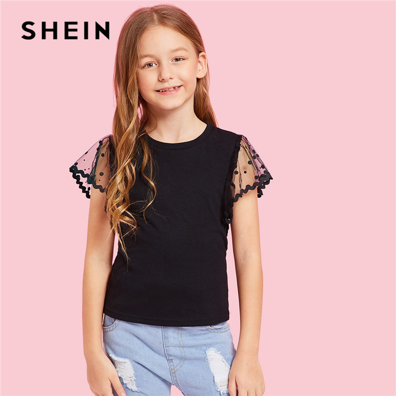 SHEIN Kiddie Black Dot Mesh Sleeve Elegant Tee Shirt Girls Tops 2019 Summer Korean Fashion Teenager Shirts Casual Kids Clothing