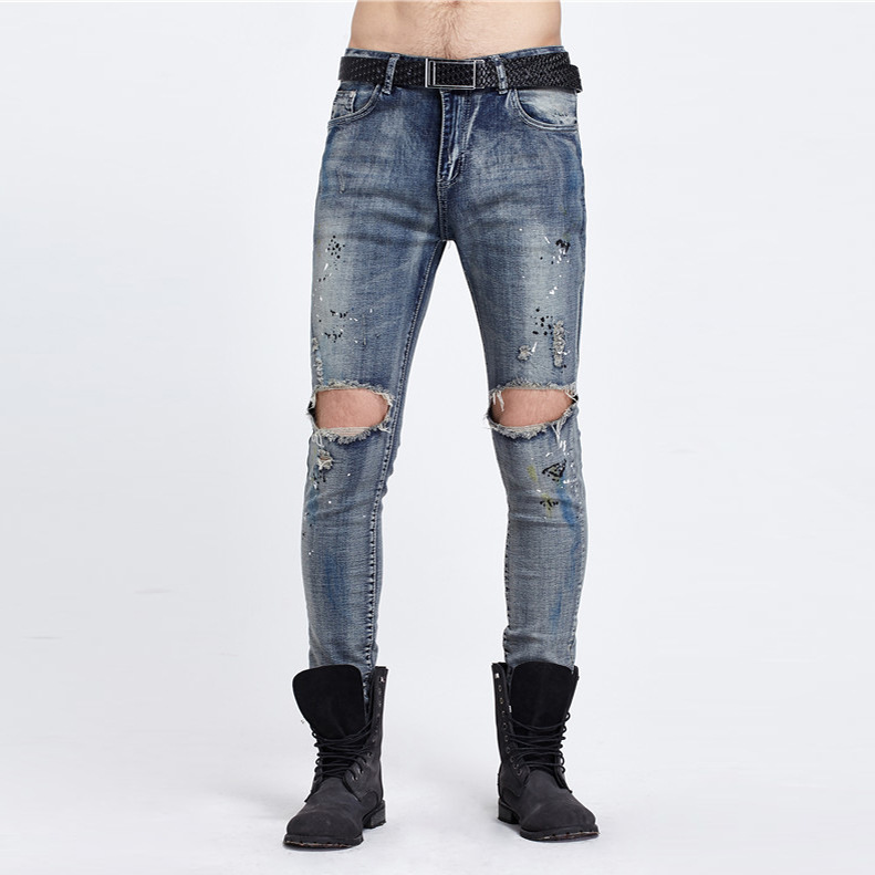 Mens summer hole jogger jeans slim fit broken Knee biker jean high quality denim long pants fashion brand Classic jeans men