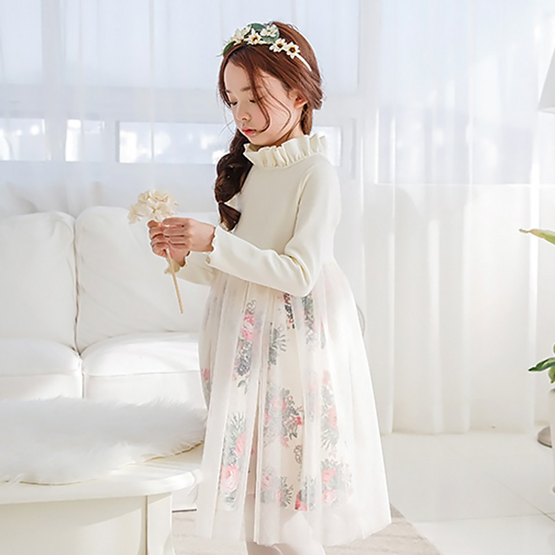 Princess Girls Winter Dress Lace Long Sleeve Cotton Dress size 10 12 14 years Children Dress Autumn Winter Teenage Girls Dress цена 2017