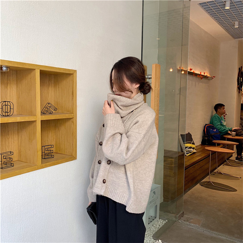 Long Femme Turtleneck New Sleeve Temperament 2019 Knit Women's Hiver Oln 9826 Bib Fashion Khaki Sweaters Pullover Pull Sweater Warm wZSBpqYvx