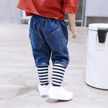 hot deal buy baby pants infant newborn lucky child cotton jeans casual korean baby girl trousers kid clothes kids jean dress high waist pants