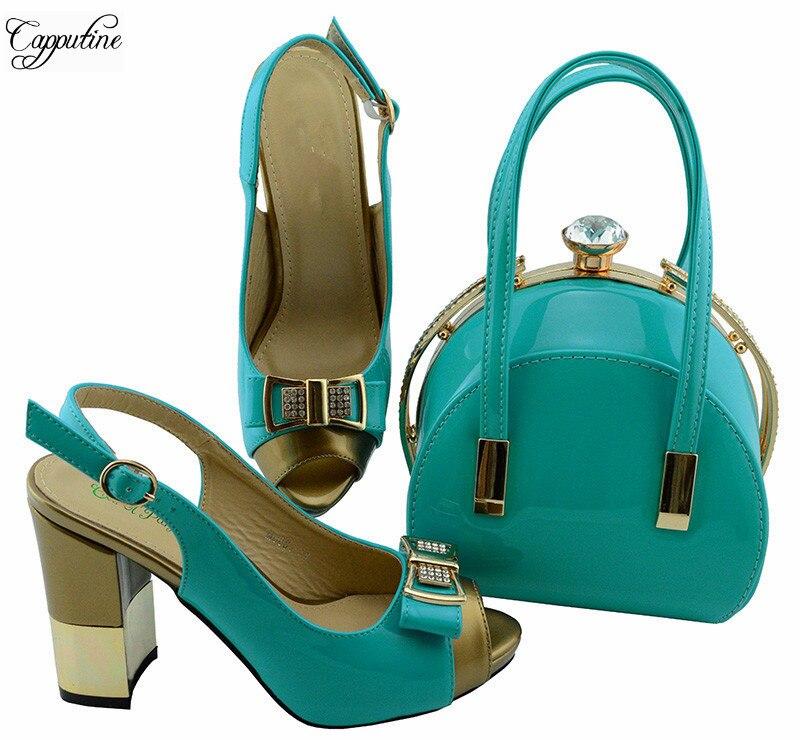 Замечательный вечерние установить соответствующие высокий каблук сандалии обувь и сумки набор для вечерние MD001, высота каблука 9,5 см