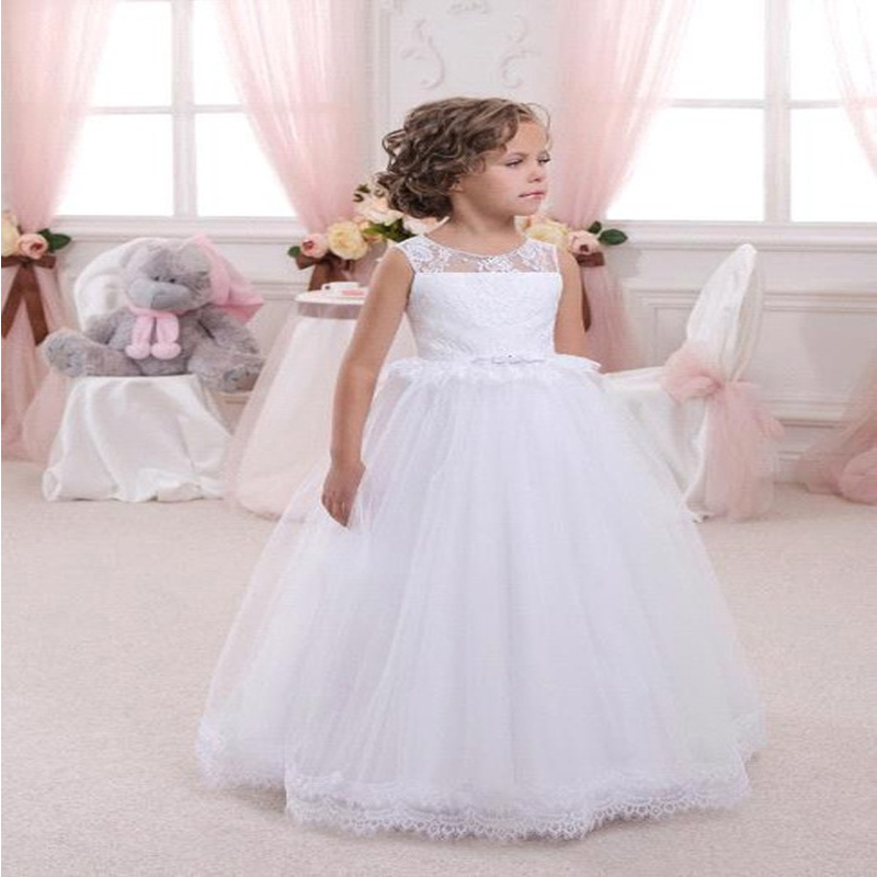 Sleeveless Flower Girls Dresses for Wedding A-line Long Graduation Gowns Children Lace First Communion Dresses for Girls