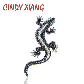 CINDY XIANG Rhinestone Lizard Brooch Dark blue Color Body Green Eye Gecko Brooches Fashion Jewelry Animal Style Vintage Pin Gift crystal enamel green gecko brooches lizard brooch pins animal corsage chameleon scarf buckle