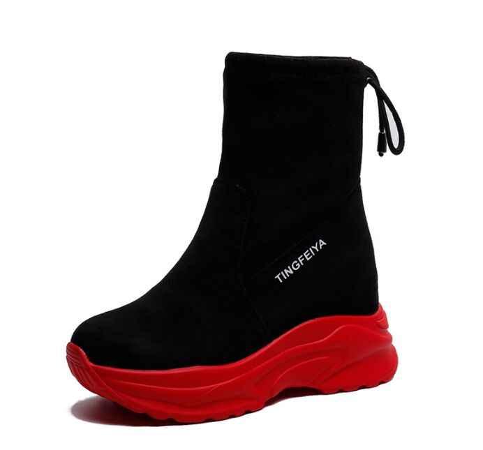 Женские полусапожки из флока на толстой подошве; кожаные ботинки на платформе; мартинсы; модная женская обувь, увеличивающая рост