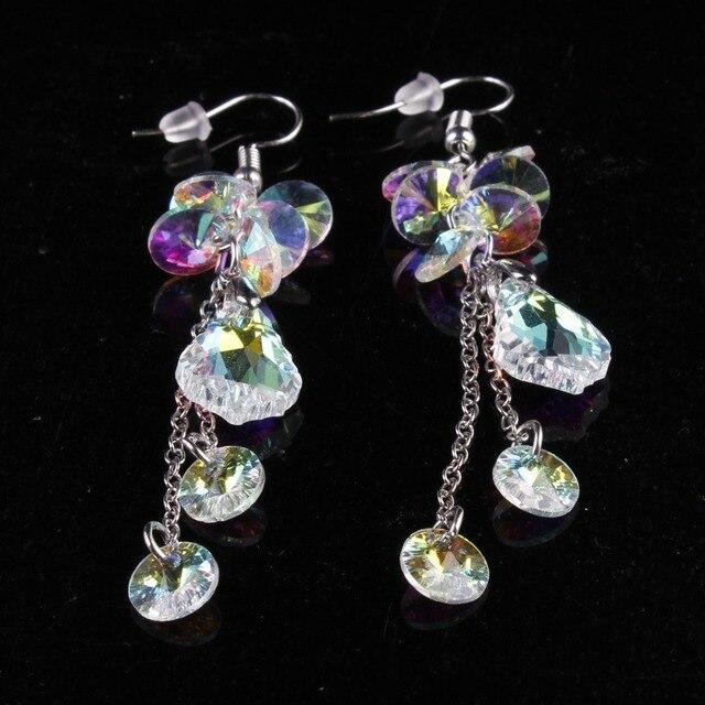 Фото женские длинные серьги с австрийскими кристаллами модные роскошные цена