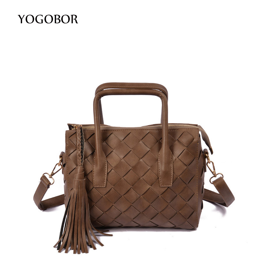 YOGOBOR New Arrival Knitting Women Handbag Fashion Weave Tassel Shoulder Messenger Bag Small Casual Cross Body Bag Retro Totes new arrival fashion color stitching simple silver buckle casual chain handbag women s shoulder bag across body messenger totes