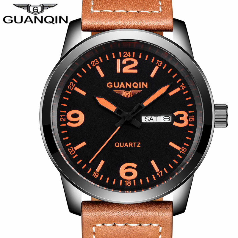 GUANQIN Men Military Sport Wristwatch Mens Watch Top Brand Luxury Leather Strap Quartz Watch Male casual clock hour Montre Homme mens watch fashion luxury brand skeleton watch hollow out male casual sport wristwatch men pirate skull quartz watch military