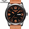 GUANQIN Men Military Sport Wristwatch Mens Watch Top Brand Luxury Leather Strap Quartz Watch Male casual clock hour Montre Homme