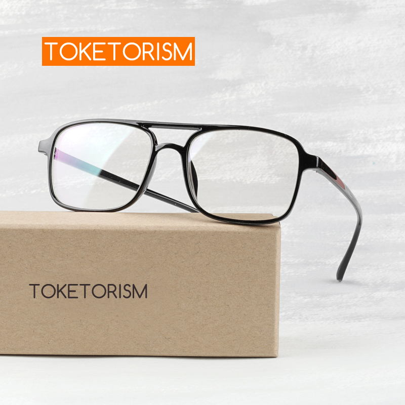 Toketorism Vintage Glasses Woman Man Double Bridge Retro Eyeglasses Lightweight Optical Glasses Frame 0342