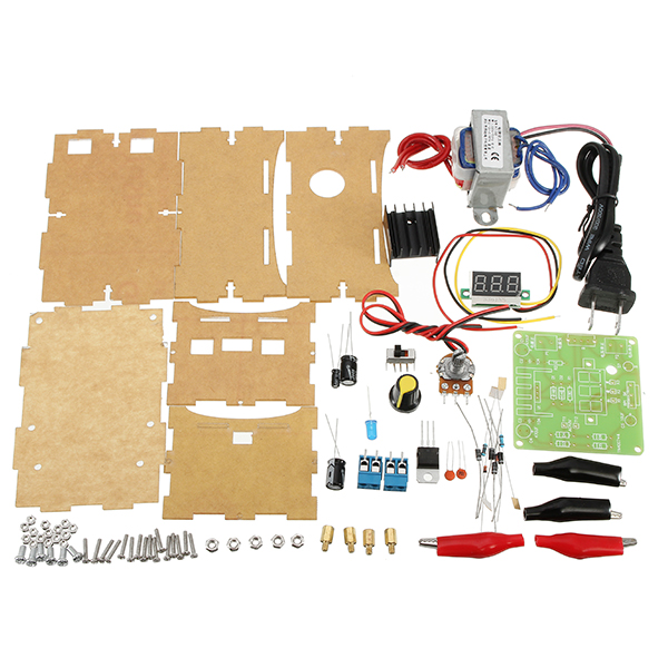 DIY LM317 Adjustable DC Power Supply Kit With Voltage Meter Voltage Regulator Power Board kit New