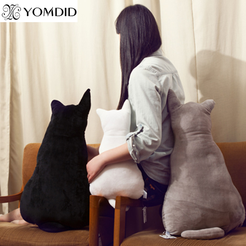 Cat Shape Plush Cushions Pillow Back Shadow Black Grey Comfortable Cushion Cat Shape Filled Animal Cushion Kids Gift Pillow Toys