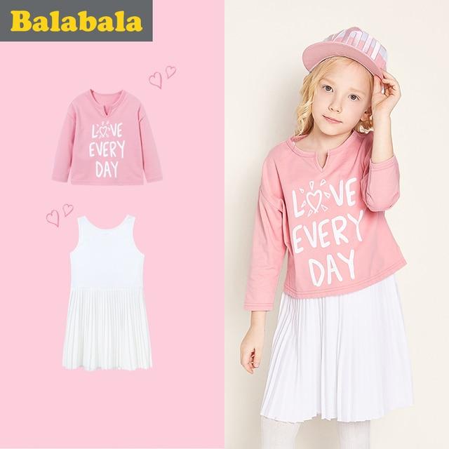 Balabala vestido de las niñas de los niños de Otoño de 2018 Collar de la muñeca princesa vestidos para niñas de moda vestido de algodón y manga larga Camiseta