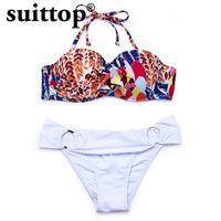 suittop Bikinis Women 2017 Summer New Sexy Solid Bottom Print Bikini Top Push Up Swimwear Low Waist Swimsuit Mature Bikini Set