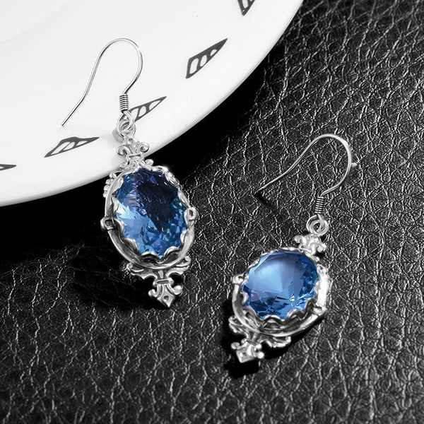 S925 Silver-inlaid Topaz Blue Drop Earrings for Women Gemstone Kolczyki Orecchini Bizuteria Garnet Jewelry Earrings Dropshopping