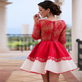 Vestido De Noiva 2017 Red Cocktail Dress Short Party Gowns With Half Sleeve High Quality Lace Wedding Party Dress Custom Made