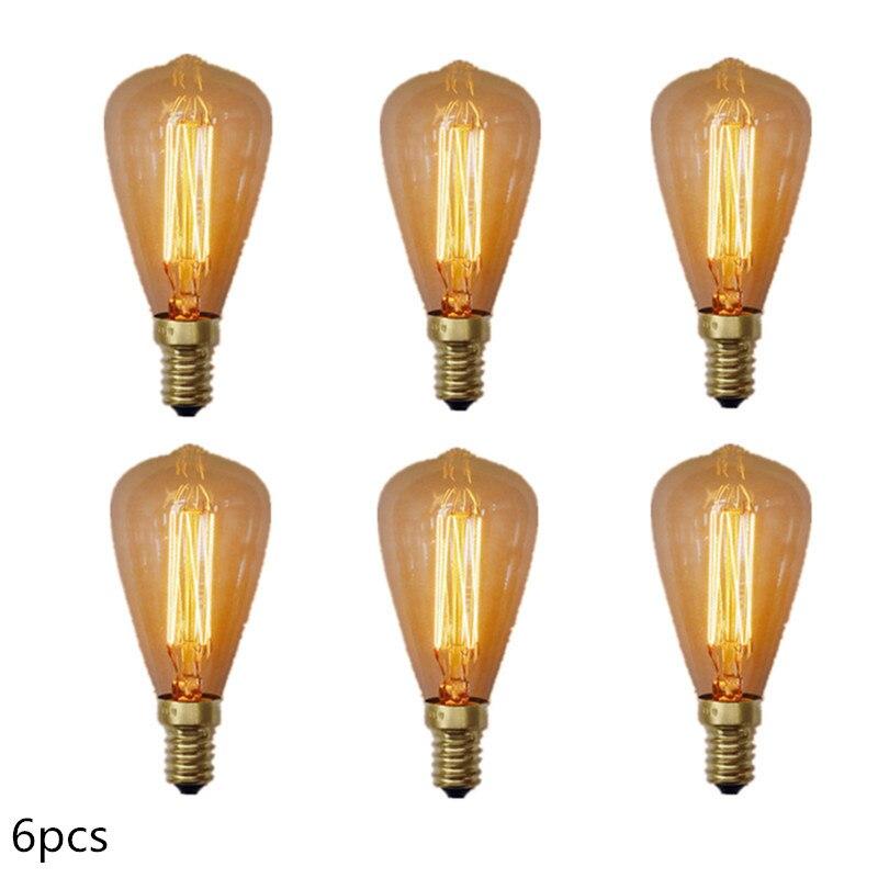 6pcs/lot Bulb Lamp Edison Reproduction 40 Watt E14 ST48 Dimmable Incandescent Vintage Edison Light Bulb 40W Warm White 220-240V