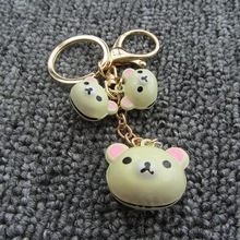 Bag Pendent-Wholesale Anime Animal Keychain Jewelry Pendant Korean Cartoon Candy Color Bell Bear Key Chain Promotion Gifts