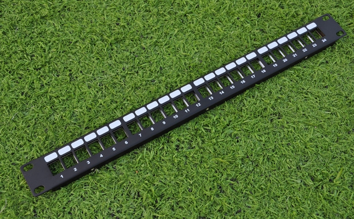 24 Ports Unloaded Keystone Patch Panel -- Cable Faceplate 24port blank patch panel for keystone jacks 24 empty patch panel rack six shielded modular patch panels network blank frame with cable manager bar